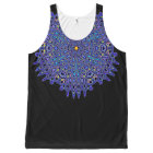 Pretty Blue Boho Kaleidoscope Mandala All-Over Print Singlet