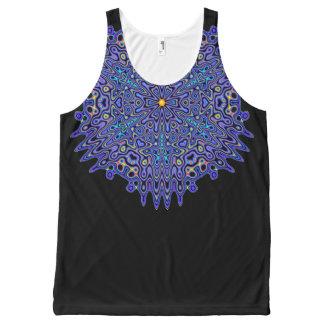 Pretty Blue Boho Kaleidoscope Mandala All-Over Print Singlet