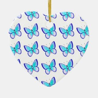 Pretty Blue Butterflies Ceramic Heart Decoration