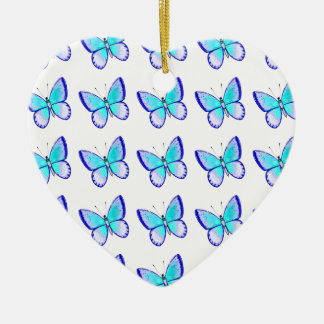 Pretty Blue Butterflies Ceramic Ornament