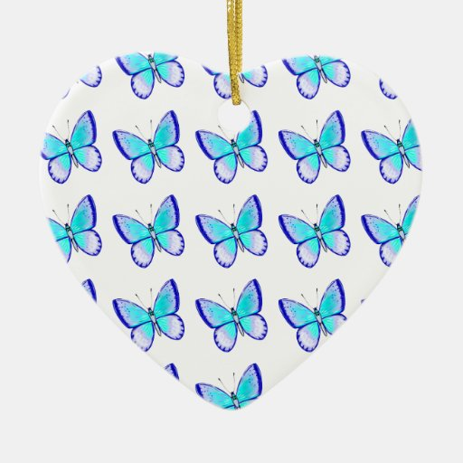 Pretty Blue Butterflies Christmas Tree Ornament
