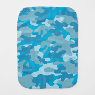 Pretty Blue Camouflage Pattern Burp Cloth