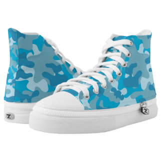 Pretty Blue Camouflage Pattern High Tops