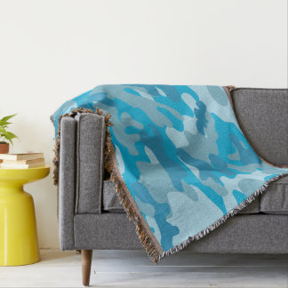 Pretty Blue Camouflage Pattern Throw Blanket
