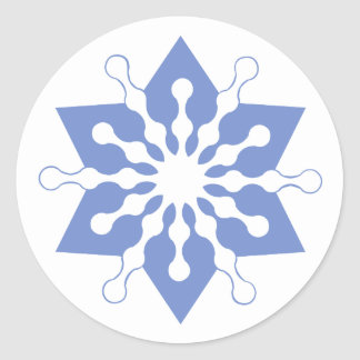 Pretty Blue Christmas Star Snowflake Classic Round Sticker
