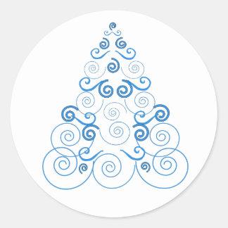 Pretty blue Christmas tree on a round sticker