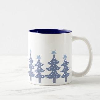 Pretty Blue Christmas Trees Mug