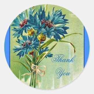 Pretty Blue Cornflower Bouquet Thank You Round Sticker