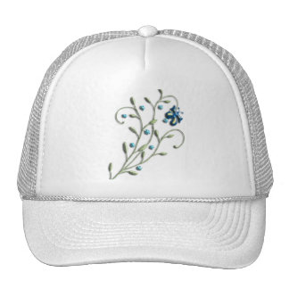 Pretty Blue Daisy & Butterfly Doodle Mesh Hat