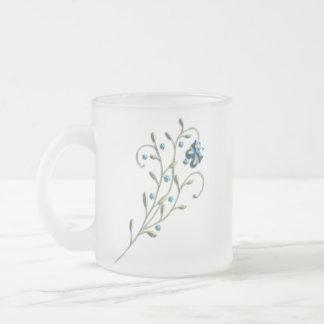 Pretty Blue Daisy & Butterfly Doodle Mug