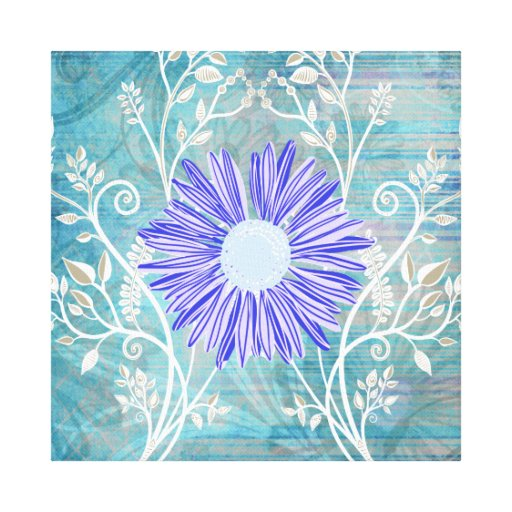 Pretty Blue Daisy Flower Pattern Gifts Stretched Canvas Print