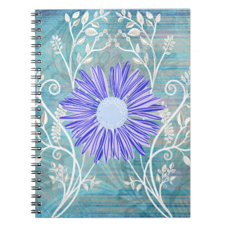 Pretty Blue Daisy Flower Pattern Gifts Notebooks