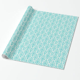Pretty blue damask patter wrapping paper