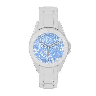 Pretty Blue doodle pattern Wristwatch