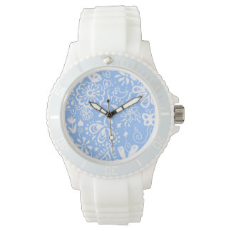 Pretty Blue doodle pattern Wrist Watch