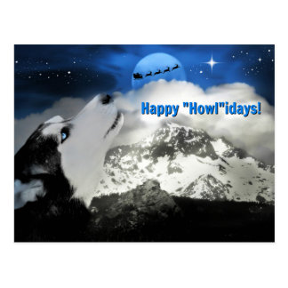 Pretty Blue Eyed Husky Happy Holidays Postcards