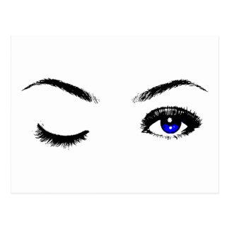 Pretty Blue Eyes Winking Postcard