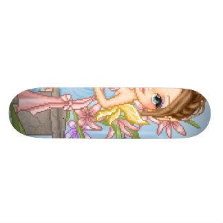 Pretty Blue Faery Pixel Art Skate Board