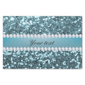 Pretty Blue Faux Glitter and Diamonds Tissue Paper