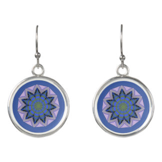 Pretty blue floral design earrings