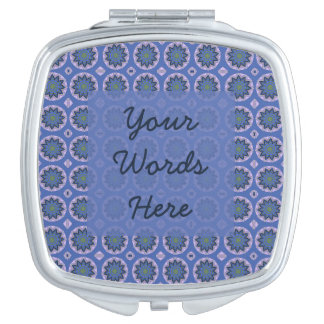 Pretty Blue Floral Pattern Compact Mirrors