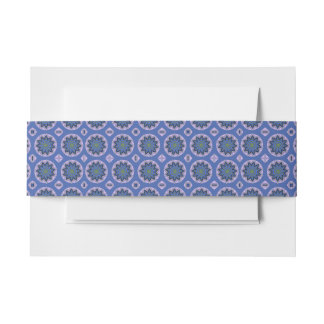 Pretty Blue Floral Pattern Invitation Belly Band
