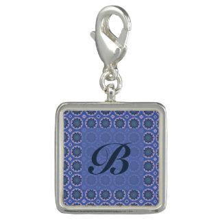 Pretty blue floral pattern Monogram