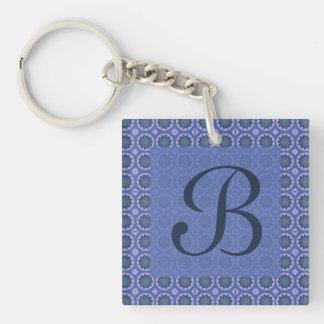 Pretty blue floral pattern Monogram Key Ring