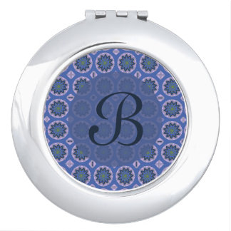 Pretty blue floral pattern Monogram Makeup Mirrors