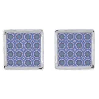 Pretty Blue Floral Pattern Silver Finish Cufflinks