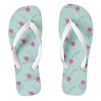 pretty blue floral pattern thongs
