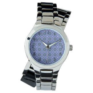 Pretty Blue Floral Pattern Watch