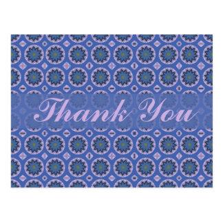 Pretty Blue Floral Thank You Postcard