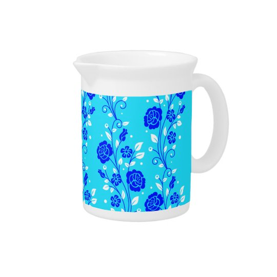 Pretty blue floral vines pitcher