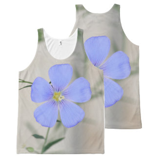 Pretty Blue Flower All-Over Print Singlet