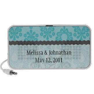 pretty blue flower floral damask wedding keepsake iPod speakers