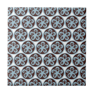 Pretty Blue Flowers in Circle Pattern Custom Gifts Tile