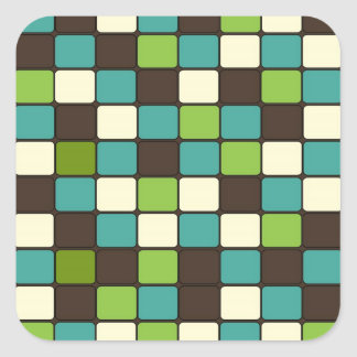 Pretty Blue Green Brown Cream Mosaic Tile Pattern Square Sticker