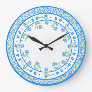 Pretty Blue Green Periwinkles Floral Round Border Clock