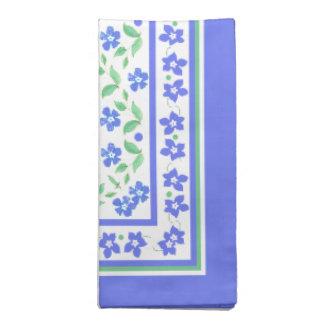 Pretty Blue Green Periwinkles Floral Square Border Napkin