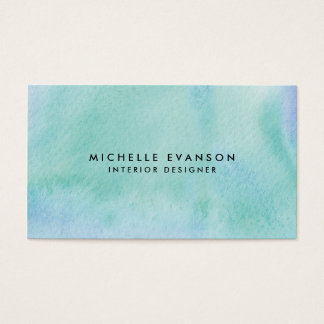 Pretty Blue Green Watercolor Paint Creative Business Card