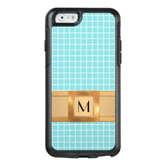 Pretty Blue Grid Squares Gold Band Mobile OtterBox iPhone 6/6s Case