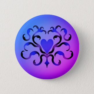 Pretty blue heart 6 cm round badge