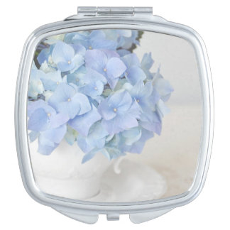 Pretty Blue Hydrangea in vintage teacup Travel Mirrors
