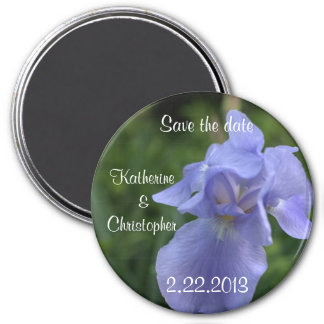 Pretty Blue Iris Save the Date Wedding Magnets 3 Inch Round Magnet