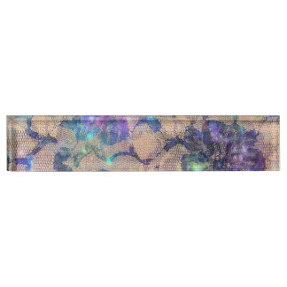 Pretty Blue Lace Roses Desk Nameplate