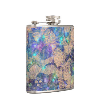 Pretty Blue Lace Roses Hip Flask