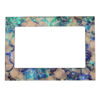 Pretty Blue Lace Roses Magnetic Frame