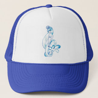 Pretty Blue Mermaid Light Blue Background Trucker Hat