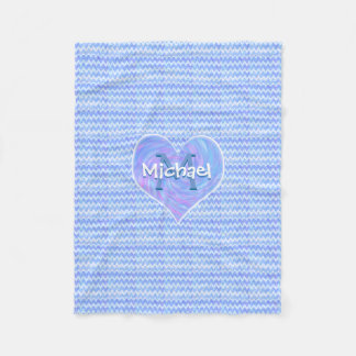 Pretty Blue Monogram Chevron Heart Fleece Blanket